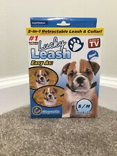Retractable Magnetic Dog Leash Lucky Leash w/Collar 2-in-1 (S/M) SAME-DAY SHIP