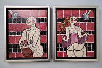Pat Custer Denison Ceramic Tile Modern Art Paintings Man Woman In Shower Nudes
