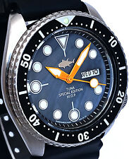 "Vintage mens watch Seiko Diver 6309 mod w/new Black ""TUNA"" Mother of Pearl dial!"
