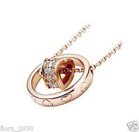 Très joli Collier pendentif coeur plaqué or cristal transparent bijou Joaillerie