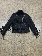 Vintage Harley Davidson Cowhide Fringe Motorcycle Leather Jacket Women's 44