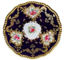 RARE ANTIQUE COPELAND SPODE COBALT GOLD JEWELS HAND PAINTED PINK ROSES PLATE!