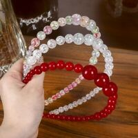 Ladies Bead Headband Hairband Big Crystal Crown Hair Hoop Band Accessories Tiara