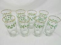 HOLLY LOT OF 8 TUMBLER GLASSES, HOLLY WITH GOLD TRIM