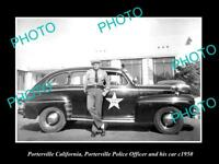 OLD LARGE HISTORIC PHOTO OF PORTERVILLE CALIFORNIA POLICE PATROL CAR c1950