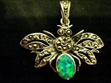 Sterling Silver Gilson Fire Opal Marcasite insect butterfly moth pendant Vintage