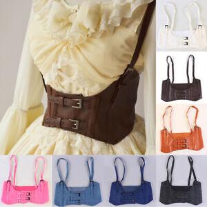 Vintage Women's Corset Vest Steampunk Harness Strechy Wide Cincher with Buckle