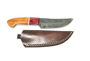 """9"""" Hand Crafted & Forged KK11 Damascus Fixed Blade Knife, Leather Sheath"""