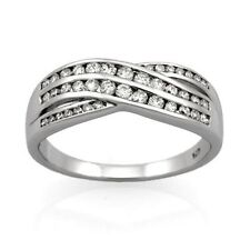 9ct White Gold Diamond Crossover Ring.