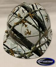 New Custom MSA V-Gard (Short Brim) Hard Hat W/FasTrac Matthews Snowfall Pattern