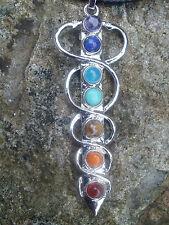 Silvertone Chakras Colgante Collar con Piedras Preciosas-yoga-meditacion