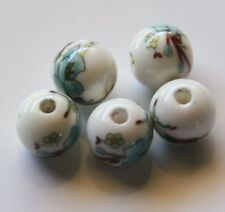 30pcs 8mm Round Porcelain/Ceramic Beads - White / Pale Turquoise Flowers