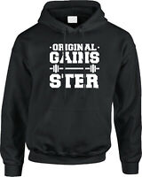 Original Gains-Ster Workout Fitness Funny Humor Pun Joke Gym Saying Mens Hoodie