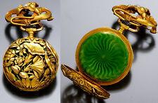 Art Nouveau Floral Case with Green Enamel Background 18K Gold Pendant Watch 1895