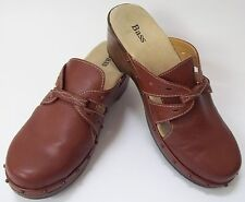 Bass Clogs Shoes Brown Leather Mules Slip-on Womens Size 8M