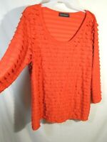 Travel Elements Tiered Long Sleeve Blouse Top Womens Size Large Orange ish Red