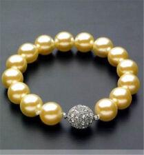 "10mm Gold Akoya Shell Pearl Round Beads  Bracelet 7.5"" AAA"