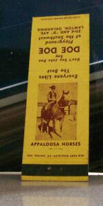 Vintage Matchbook Cover A15 Collectible Ephemera Lawton Oklahoma Appaloosa Horse