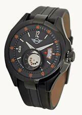 Mini Burbuja Lente Subdial Cuarzo Correa de Cuero Dial Negro Reloj Hombre 161004