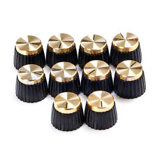 10 X Guitar AMP Knobs Black With Gold Cap fits Marshall Amplifier EW
