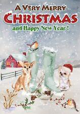 "Chihuahua Dog A6 (4"" x 6"") Christmas Card (Blank inside) Design by Starprint"
