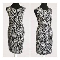 Episode Dress Size 14 Draped Faux Wrap Style Black & White Smart Work Pretty