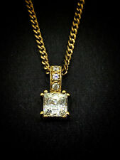 9CT YELLOW GOLD PENDANT SET WITH SQUARE BAGUETTE CUT CUBIC ZIRCONIA