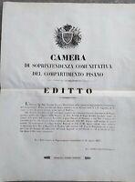 1847 BANDO DA PISA SU CESSAZIONE DELLA DOGANA DI BIENTINA