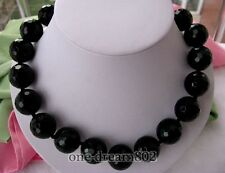 """18""""20mm nature round black faceted agate necklace"""