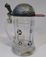 Mini Schnapskrügerl stein/shot glass futbol theme with futbol/soccer hat lid