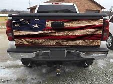 Old American Flag Blue Tailgate WrapVinyl Graphic Decal Sticker Wraps3M