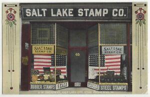 1917 Salt Lake City, Utah Rubber Stamp Company - American Flag, Vintage Postcard