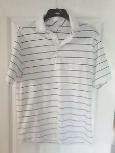Under Armour mens Golf polo shirt mens medium White Blue Stripes