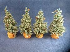 """Miniature Christmas Trees Lot Of 4 - 11"""" Works Great Lemax And Dept 56 (h2405)"""