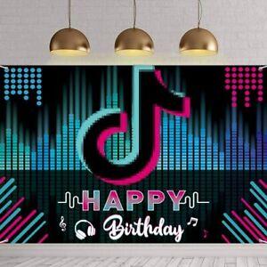TIK TOK Happy Birthday Backdrop Banner TIKTOK Theme Birthday Party Black