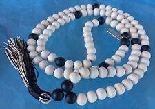 10 mm Tulsi Holy Basil  Mala Beads Necklace, 108 Black & White Wooden Mala Beads