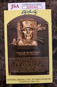 Autographed Edgar Martinez Hall of Fame Plaque Card w/ COA from JSA. Free Ship