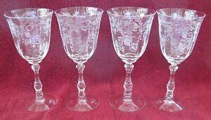 "4 Fostoria Meadow Rose WATER GLASSES 7 5/8""  Stem 6016"
