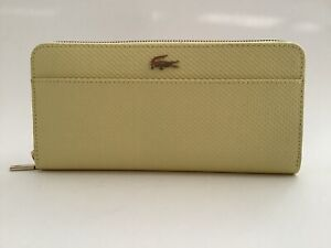 New Ladies Lacoste 'Chantaco' Yellow Piqué Leather Phone Clutch Wallet