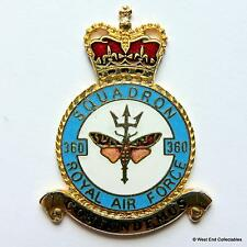 RAF 360 Squadron DANBURY MINT Blank Badge -24ct Gold Plate 1970s Royal Air Force