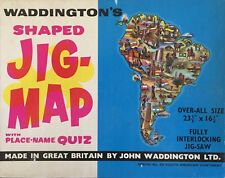 WADDINGTONS Jig-Map Jigsaw Puzzle SOUTH AMERICAN CONTINENT Vintage Retro