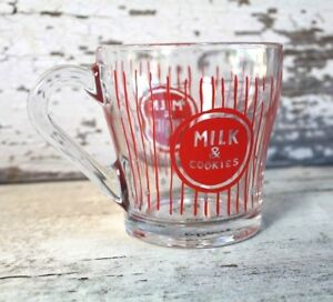 Anthropologie MOLLY HATCH Milk & Cookies Glass Mug Holiday Red Stripes Stars