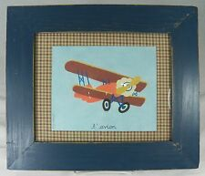 L'Avion Signed Painting Rustic Wood Frame Airplane by Debra Lim-Justavich 2003