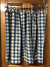 New listing 4 Vtg Mid Century Blue Floral Near Mint Cafe Kitchen Curtains, 4 Panels.