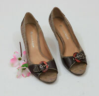 Etienne Aigner Signature Pattern Leather Peeptoe Heels US 6M