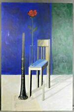 David Devillier BIG Surreal Painting Red Rose Broken Chair OBOE Music Still Life
