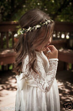 Girls Long Sleeve Lace Maxi Rustic Communion Beach Dresses For Wedding Gown