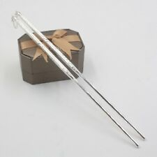 Pure S990 Sterling Silver Square Carved Hollow Chopsticks/ 8.3inch Length / 21g