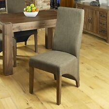 Shiro Solid Dark Wood Furniture Set of Two Brown Upholstered Dining Chairs