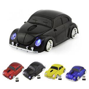 Black 2.4GH VW beetle car wireless mouse PC LED Light Gaming Mice USB MAC Laptop